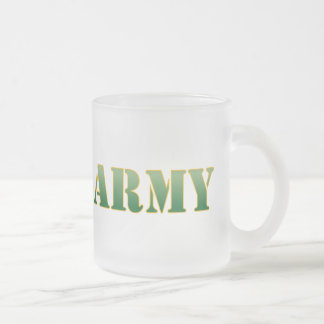 US Army w/Green Text Frosted Glass Mug