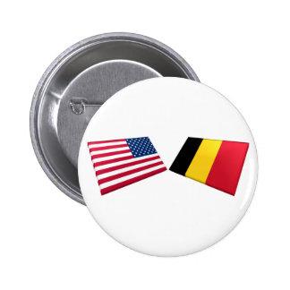 US & Belgium Flags Pinback Buttons