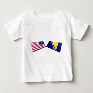 US & Bosnia and Herzegovina Flags Baby T-Shirt