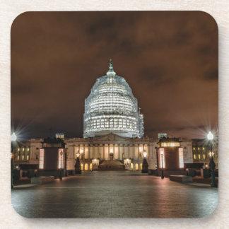 US Capitol Building at Night Beverage Coaster
