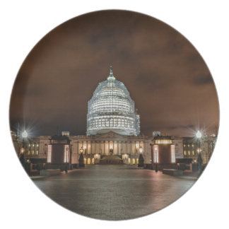 US Capitol Building at Night Plate