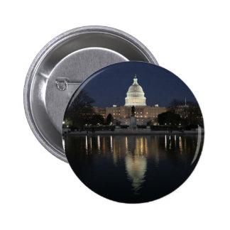US Capitol Building Night Pinback Button