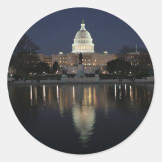 US Capitol Building Night Classic Round Sticker