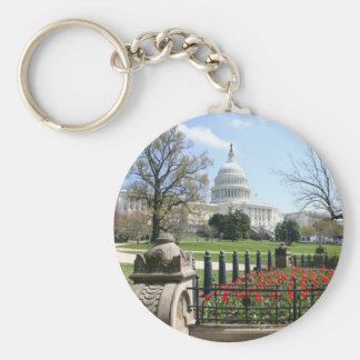 US Capitol building spring Basic Round Button Key Ring