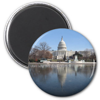 US Capitol building winter  picture 6 Cm Round Magnet