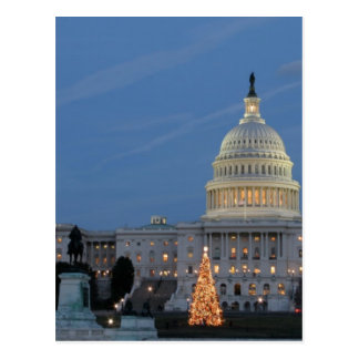 US Capitol celebrating Christmas photo Postcard