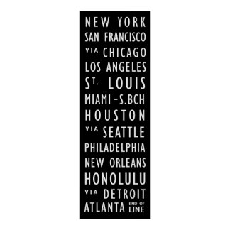 US Cities Vintage Transit Scroll Poster