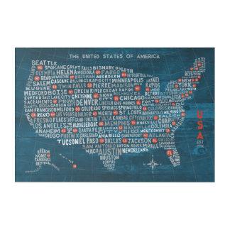 US City Map on Wood Blue Acrylic Print
