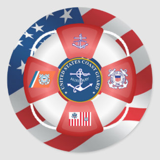 US Coast Guard Auxiliary Anchor Classic Round Sticker
