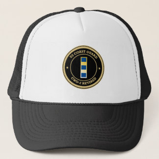 US Coast Guard CWO-2 Retired Black Shield Trucker Hat