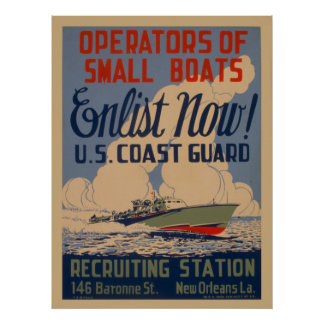 US Coast Guard Enlist Boat Owners Vintage Poster