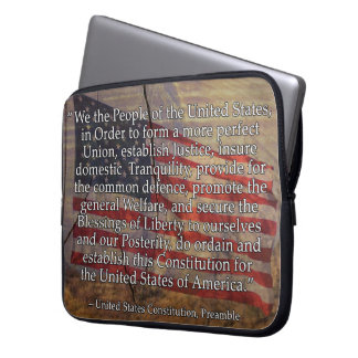 US Constitution Preamble Over Textured Background Laptop Sleeve