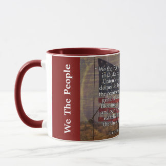 US Constitution Preamble Over Textured Background Mug