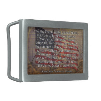 US Constitution Preamble Over Textured Background Rectangular Belt Buckle