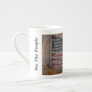 US Constitution Preamble Over Textured Background Tea Cup