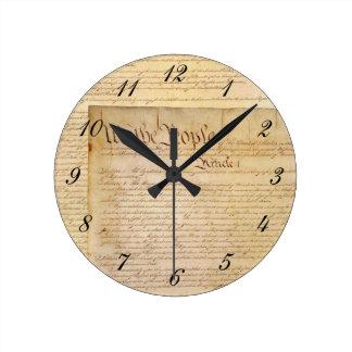 US CONSTITUTION ROUND CLOCK