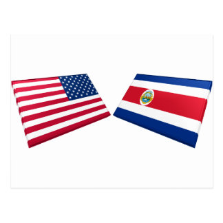 US & Costa Rica Flags Post Card