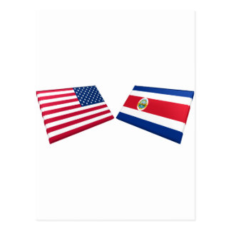 US & Costa Rica Flags Post Cards