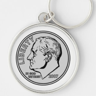 US Dime Ten Cents Silver-Colored Round Key Ring