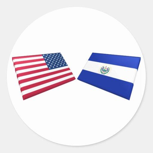 US & El Salvador Flags Round Stickers