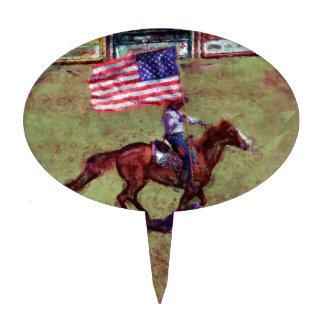 US Flag and Horse Cowgirl American Rodeo Art Cake Pick