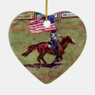 US Flag and Horse Cowgirl American Rodeo Art Ceramic Ornament
