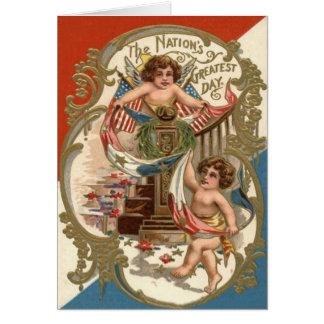 US Flag Angel Cherub Wreath Flowers Card