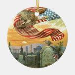 US Flag Bald Eagle Cemetery Tombstone Wreath Christmas Ornament