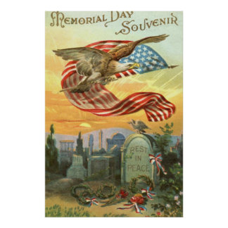 US Flag Bald Eagle Cemetery Tombstone Wreath Posters