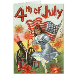 US Flag Cannon Girl Fireworks Firecracker Greeting Card