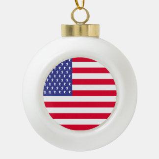 US Flag Ceramic Ball Christmas Ornament