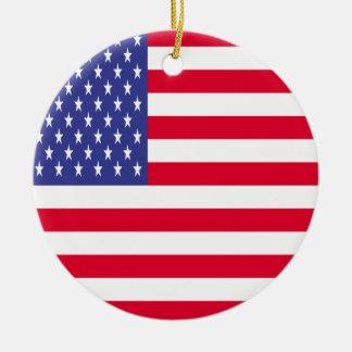 US Flag Ceramic Ornament