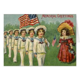 US Flag Children Parade Memorial Day Greeting Card