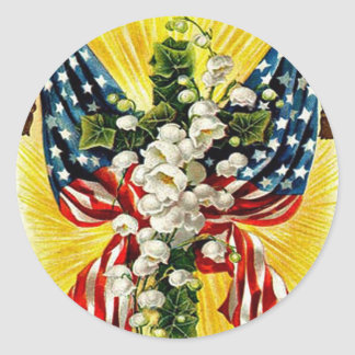 US Flag Christian Cross Dove Lily Of The Valley Classic Round Sticker