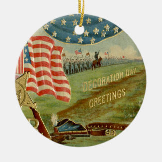 US Flag Civil War Union Medal Ceramic Ornament