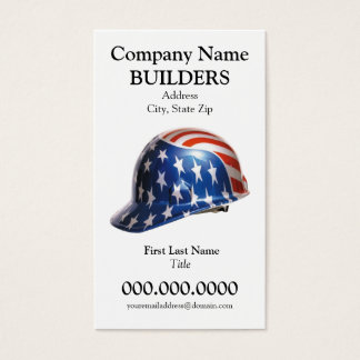 US Flag Construction Hard Hat Card Goudy Type Face