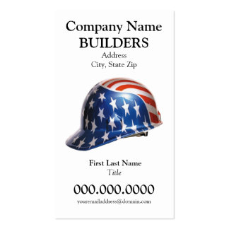 US Flag Construction Hard Hat Card Goudy Type Face Business Card Template
