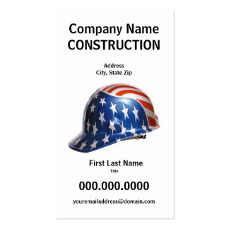 US Flag Construction Hard Hat Card Pack Of Standard Business Cards