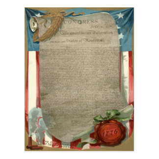 US Flag Declaration of Independence 1776 Postcard