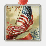 US Flag Drum Forget Me Nots Flowers Christmas Tree Ornaments