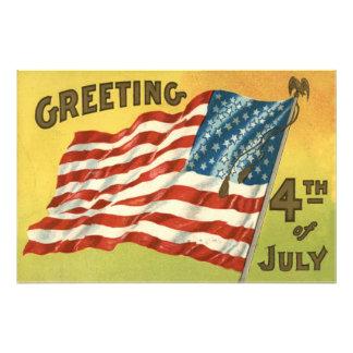 US Flag Eagle 4th of July Greeting Photo Art