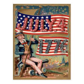 US Flag Fireworks Firecracker Uncle Sam Postcard