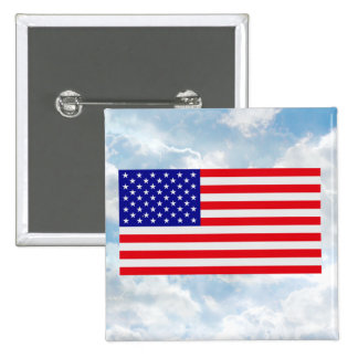 US Flag Flat - Square Button