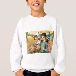 US Flag Garland Victorian Children Bouquet Rose Sweatshirt