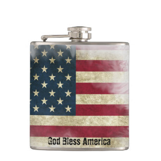 US Flag. God Bless America, aged & weathered Flasks