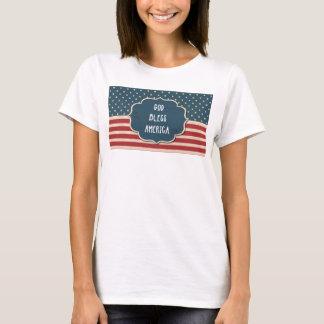 US Flag God Bless America Ladies T-Shirt