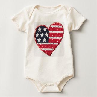 US flag heart infant onsie creeper