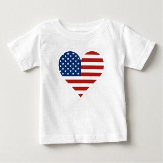US Flag Heart T Shirt