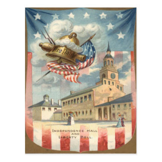 US Flag Independence Hall Liberty Bell Postcard