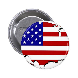 US Flag Map Pinback Button